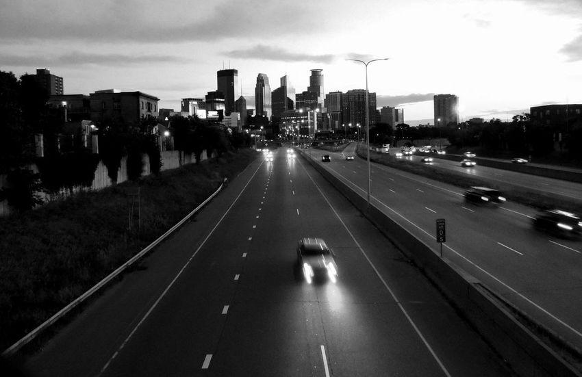 Downtown Minneapolis Cityscape Architecture Transportation Sky City Horizontal 35w Bridge 35W Oncoming Traffic Black And White