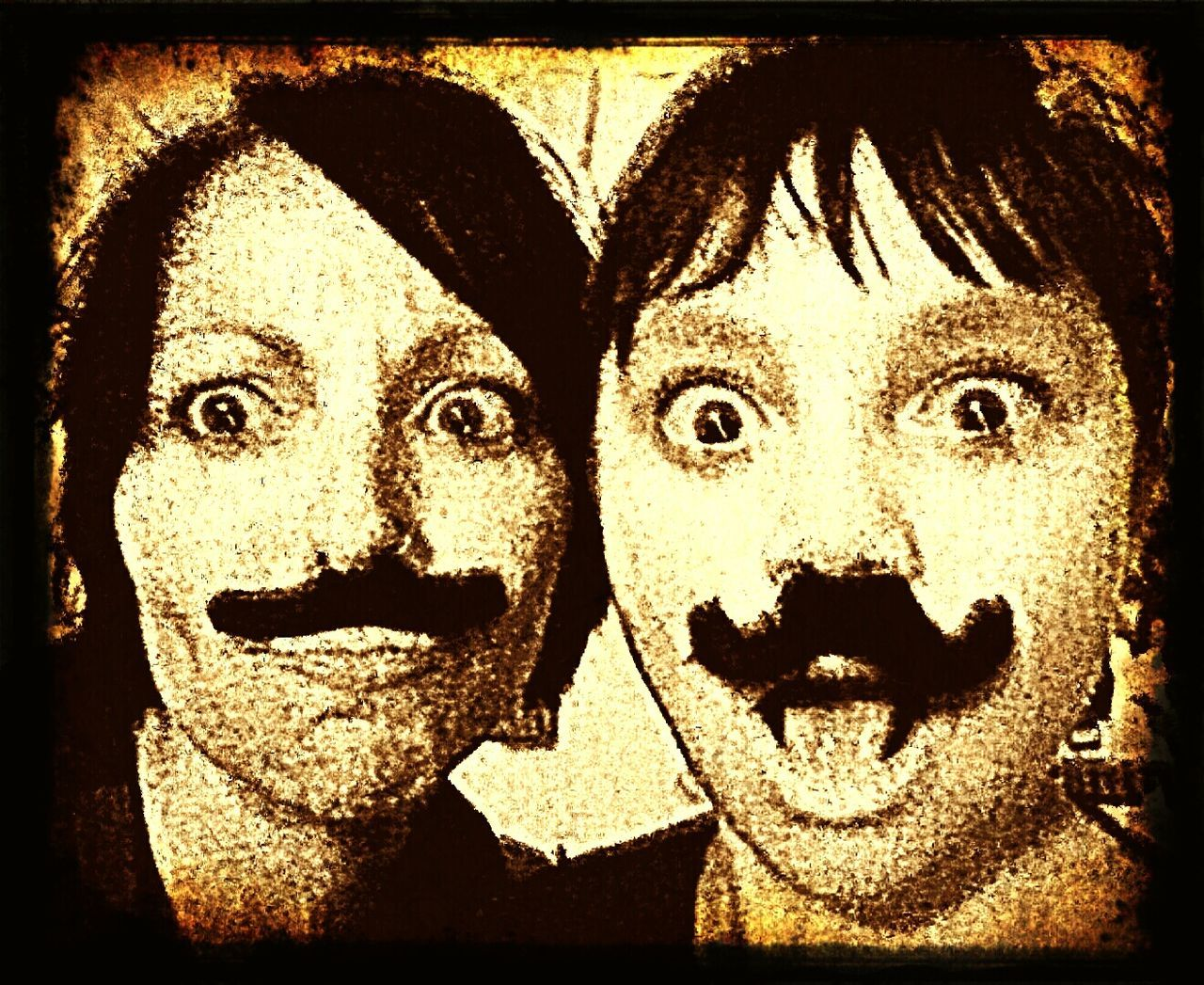 ...silly moustaches... The Portraitist - 2016 EyeEm Awards Moustache ♥ Fake Moustaches Fake Moustache Funny Faces Mom And Son 💚 Hanging Out Cheese! Enjoying Life Hanging Out Gotta Be Silly Sometimes!!! 😝 Sepia Photography Sepia Portrait Old Timey Vintage Fx Vintage Filter