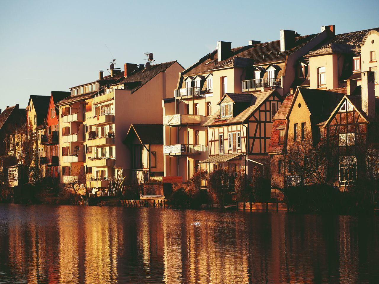 Architecture Building Exterior City Cityscape Marburg Marburg An Der Lahn Outdoors Reflection River Riverside Sunset Water