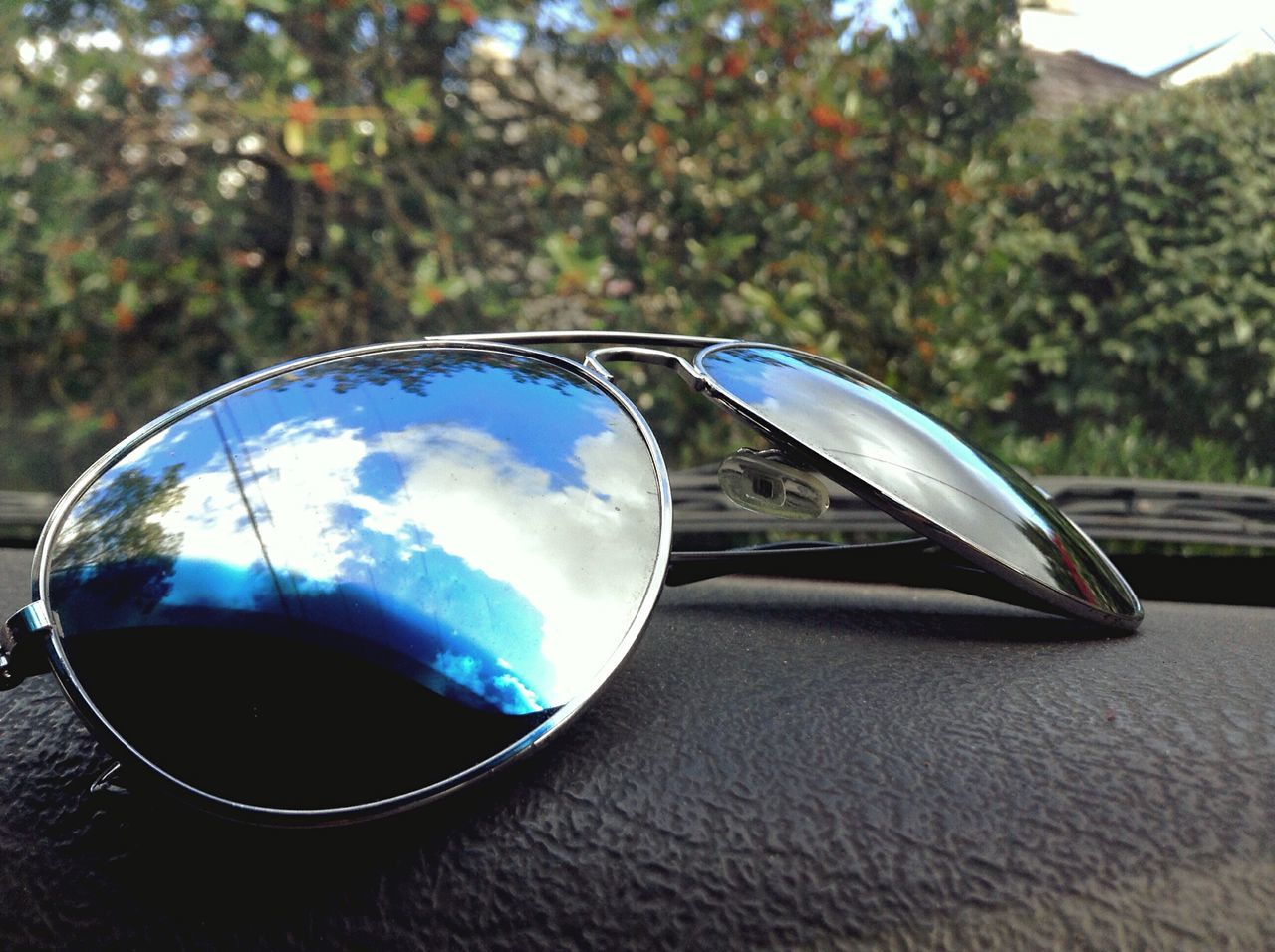 sunglasses, reflection, no people, day, close-up, outdoors, tree, nature