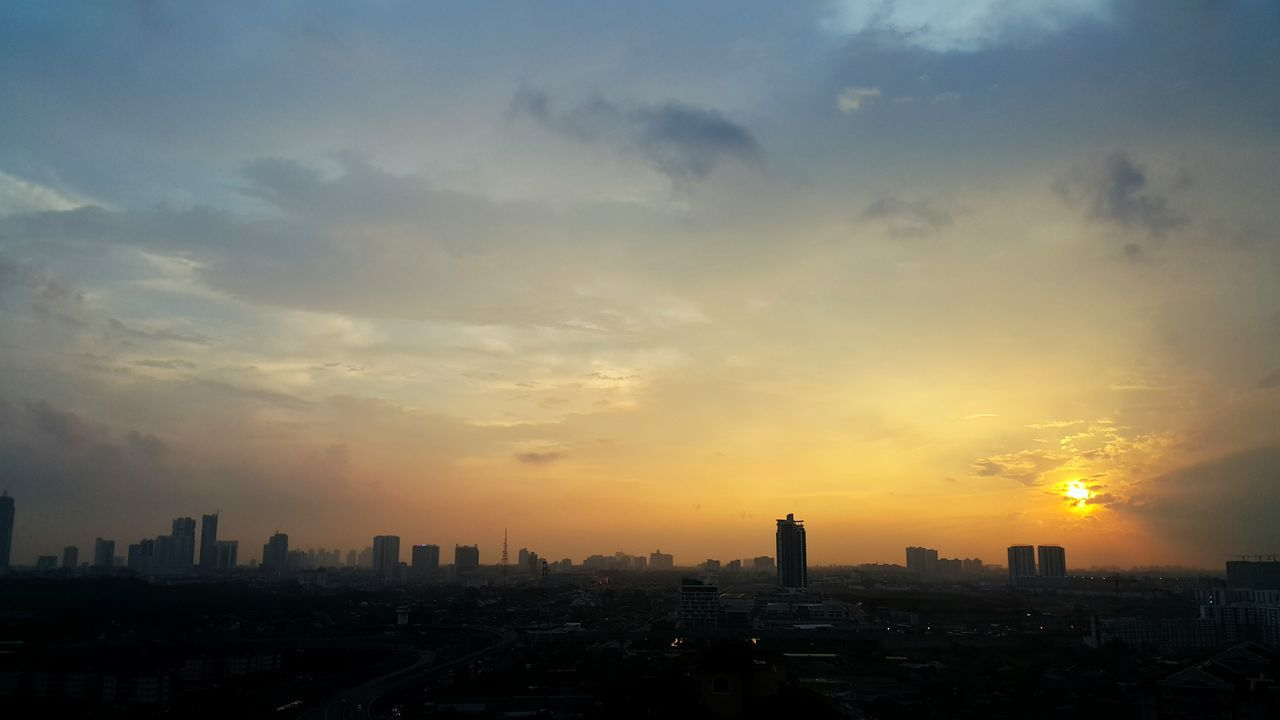 Silhouette Skyscraper City Cityscape Urban Skyline Cloud - Sky Sunset Sky Architecture Business Finance And Industry Downtown District Travel Destinations Fog Outdoors No People Modern Building Exterior Business Day Johor Bahru Malaysia