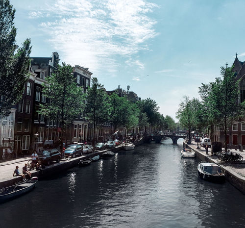 Amsterdam Trees Boats Canal Day Dutch Holland Nature People River Sky Water