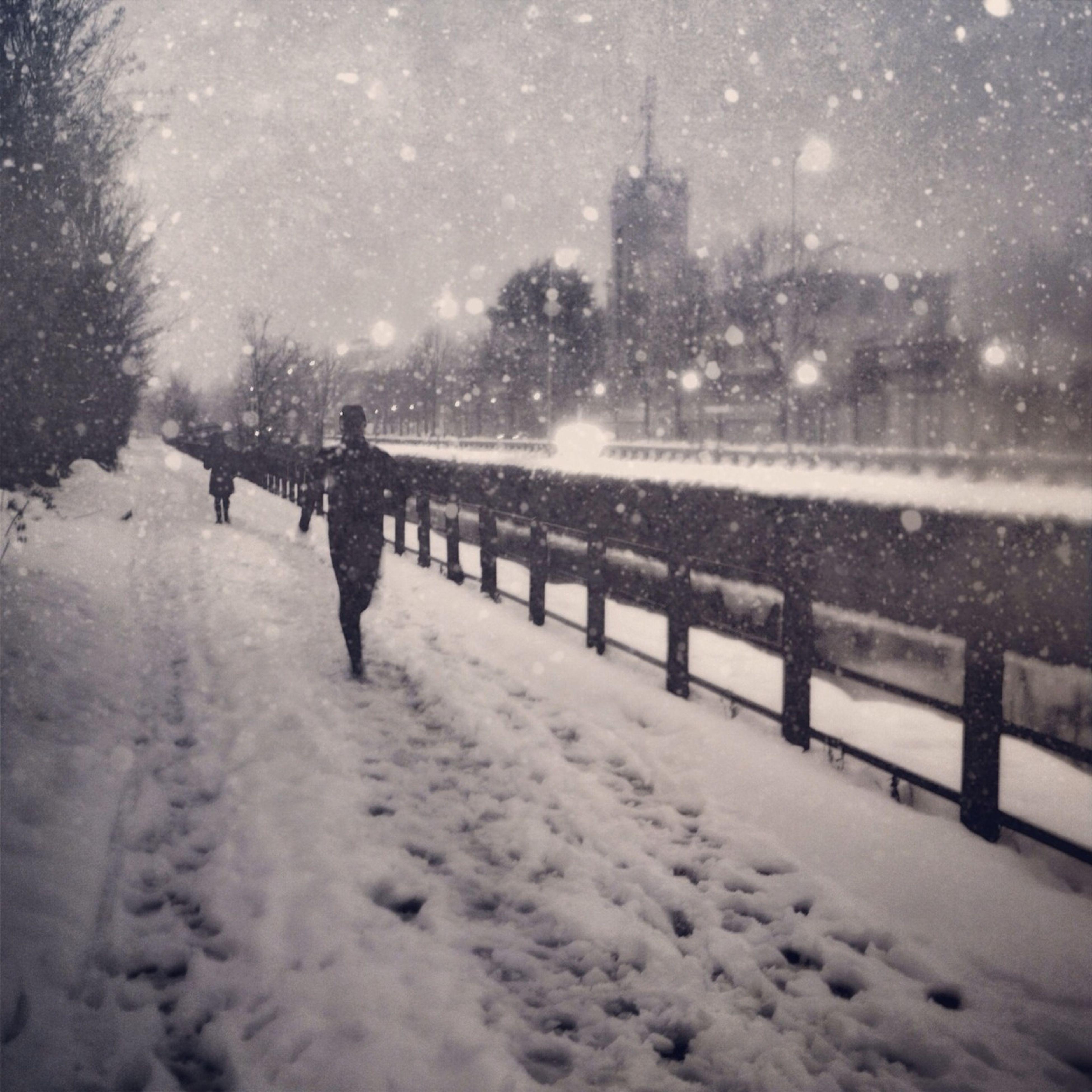 snow, winter, cold temperature, season, weather, lifestyles, leisure activity, men, frozen, silhouette, walking, covering, unrecognizable person, full length, field, sport, nature