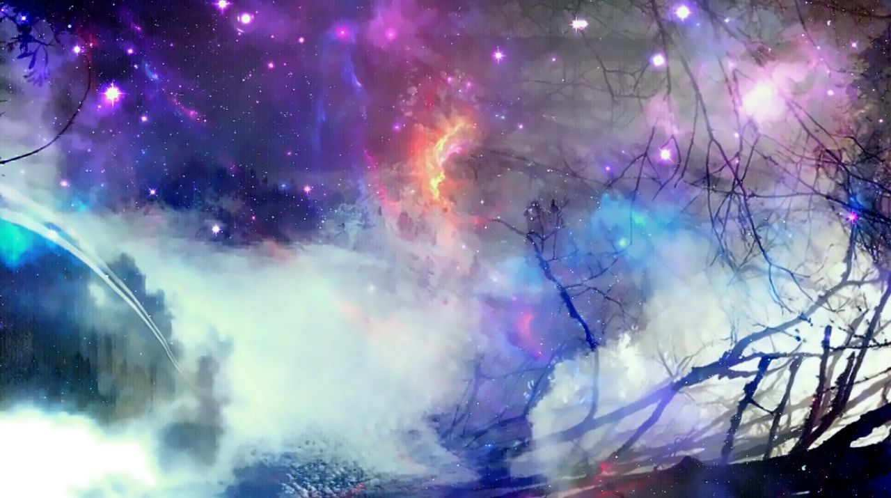 smoke - physical structure, no people, night, multi colored, outdoors, nature, space, beauty in nature, galaxy, astronomy, close-up, sky