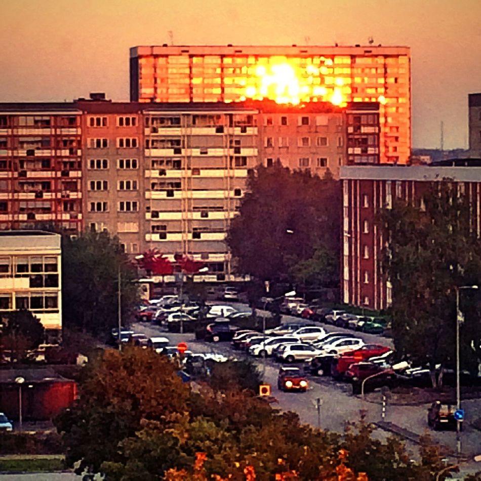 Sunset Sunset Reflection Autumn Sunset Building