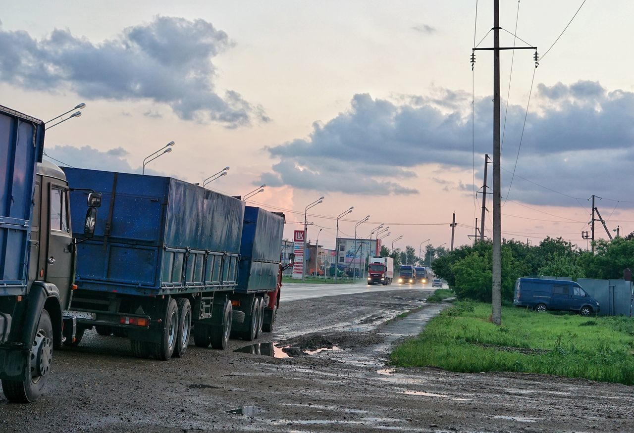 Transportation Freight Transportation Outdoors Sky Day No People Sunset Road