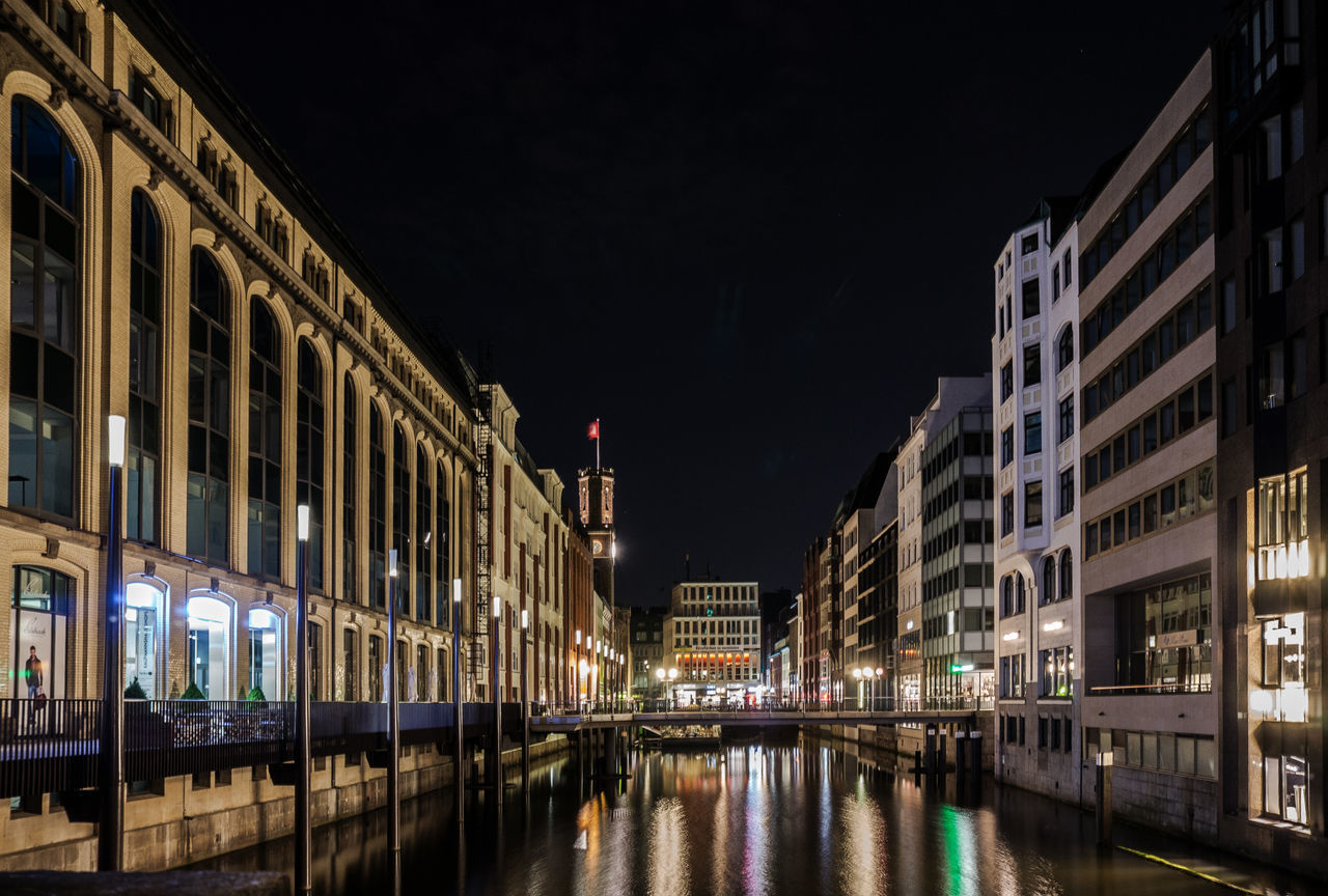Architecture Building Building Exterior Built Structure Canal City City Life Dark Façade Fleet Hamburg Has Illuminated Night No People Outdoors Reflection Residential Building Sky Water