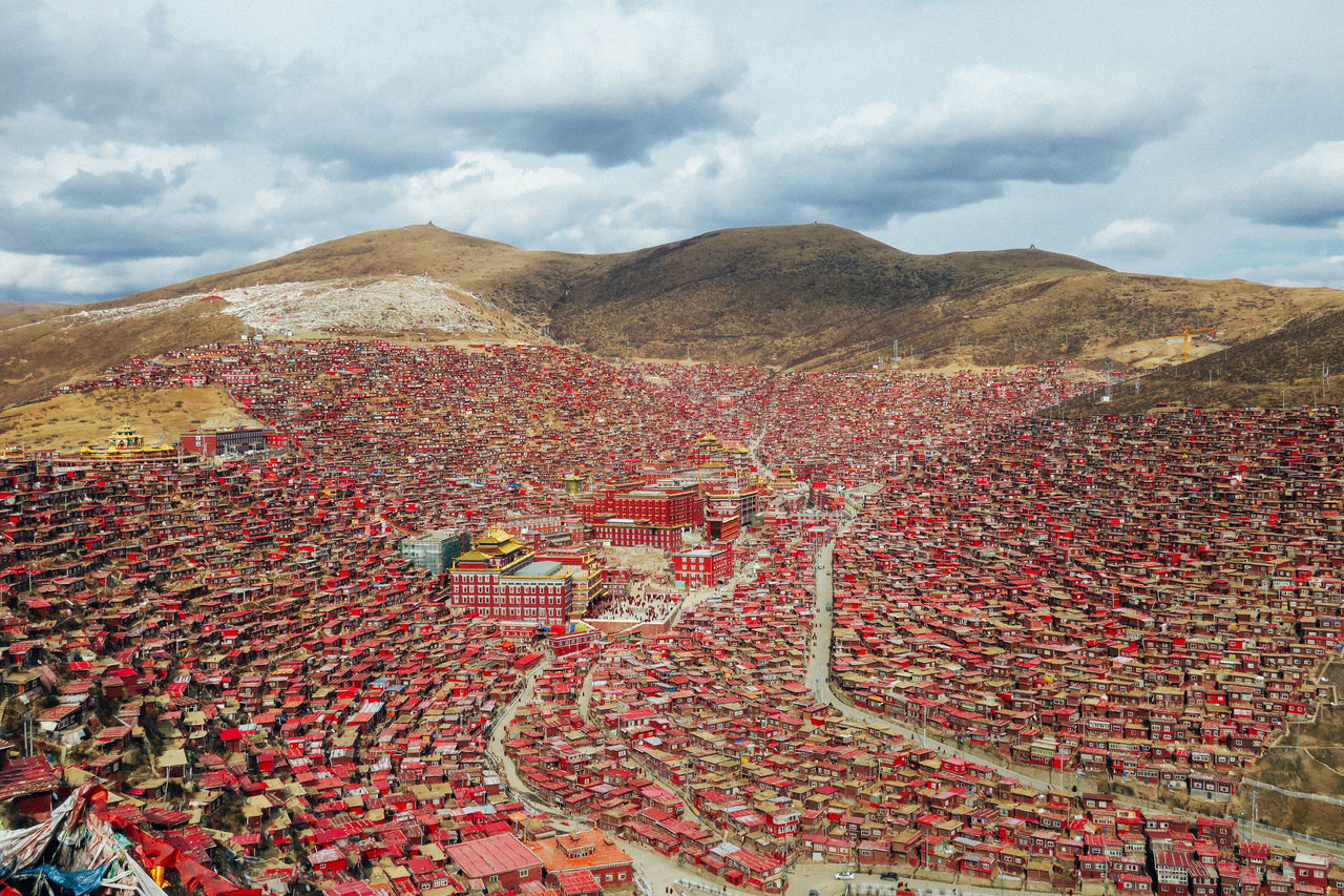 Academy Beauty In Nature Buddhism Buddhist Temple Cloud - Sky Country Day Landscape Life Monk  Mountain Nature Outdoors Scenics School Sertar County Sichuan Sky Sunlight Travel Travel Destinations Sichuan Province EyeEmNewHere
