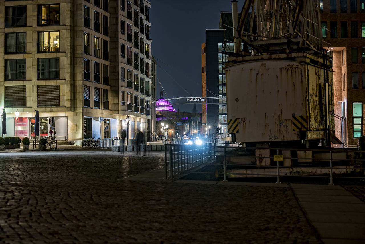 Holzhafen Architecture Artificial Light Blured People Building Exterior Built Structure City City Street Hamburg Altona Hamburg Harbour Holzhafen Illuminated Night Night Photography No People Old Crane Outdoors Road Sky Street Street Light