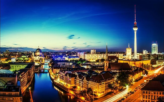 Berlin City Landscape Night Lights Hello World
