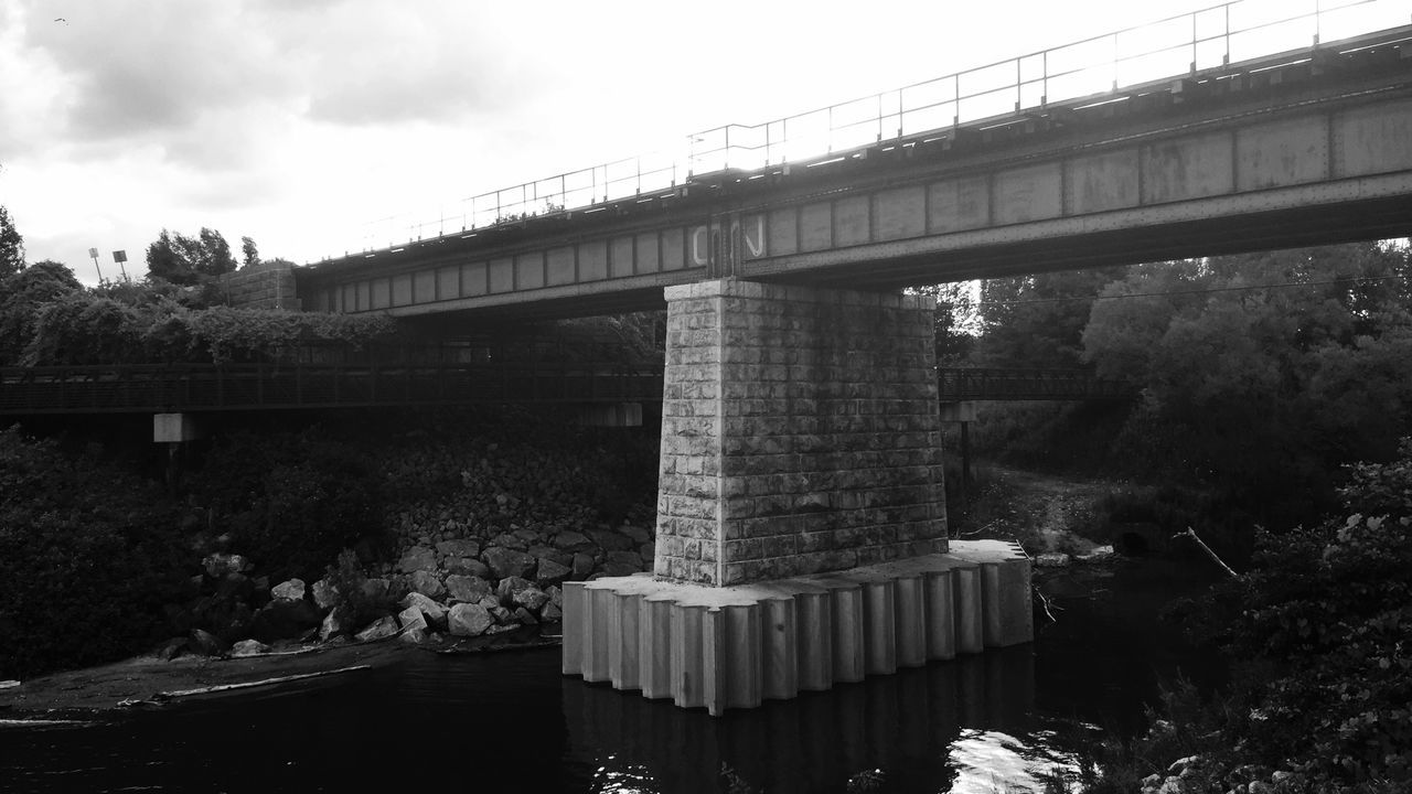 Black & White shot with Camera+ IOS App on my Iphone 6 Plus of Train Bridge over Highland Creek in Scarborough where it meets Lake Ontario — IPhoneography B&w Photography