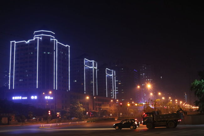 Architecture Built Structure Changsha Changsha,China China City City Life City Life City Street Hunan Hunan Changsha Hunan Province, China Illuminated Land Vehicle Mode Of Transport Night No People Outdoors Parking Road Sky Stationary Street Light The Way Forward Transportation