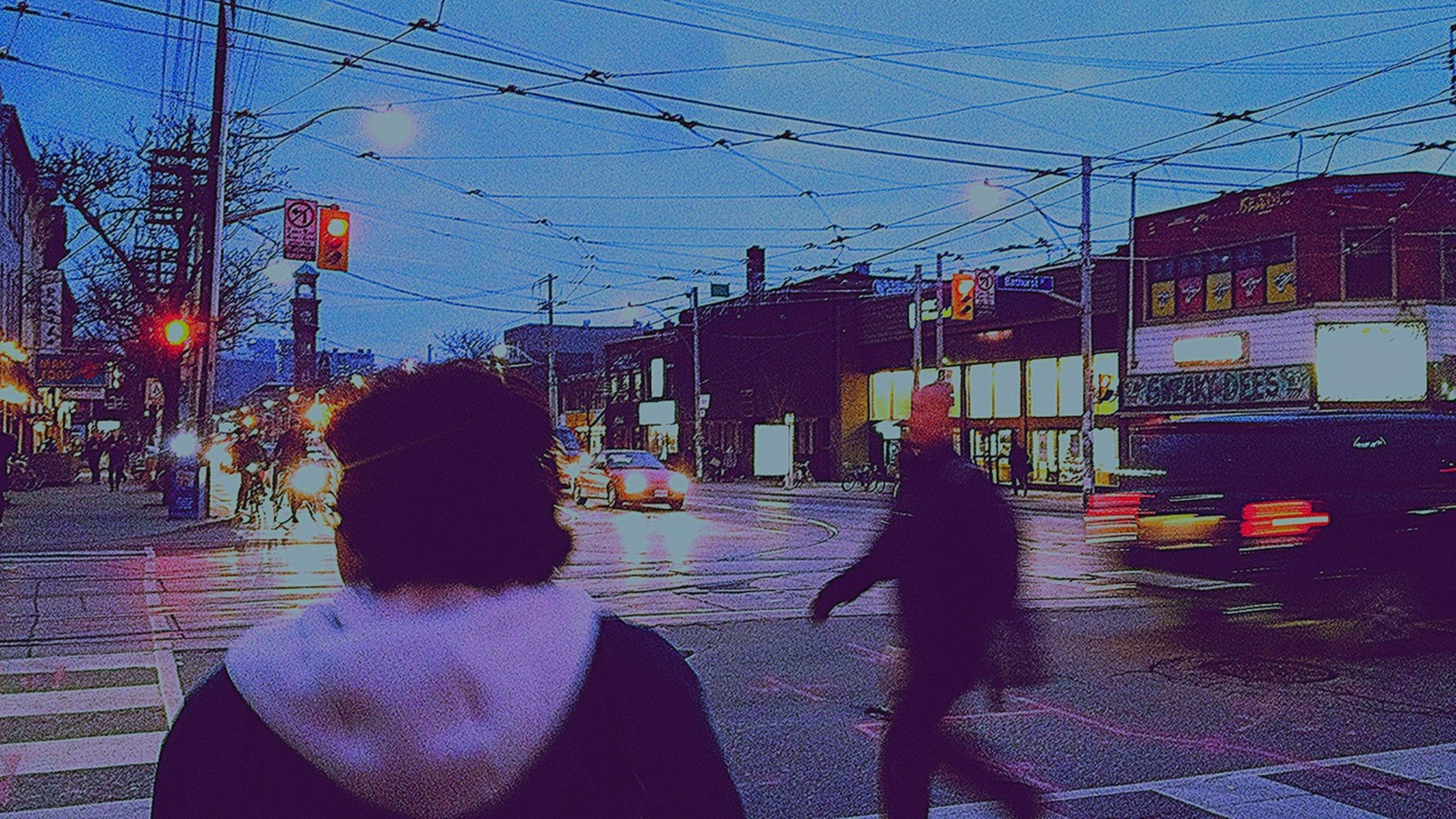 building exterior, architecture, built structure, street, city, power line, street light, sky, road, sidewalk, electricity pylon, transportation, city street, city life, residential structure, sunlight, residential building, dusk, outdoors, building