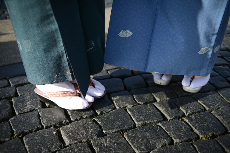 Block Pavement Block Stones Close-up Day Human Body Part Human Leg Japanese Clothes Japanese Culture Japanese Style Japanese Traditional Kimono Lifestyles Low Section Obi Outdoors People Real People Tabi TABI Shoes