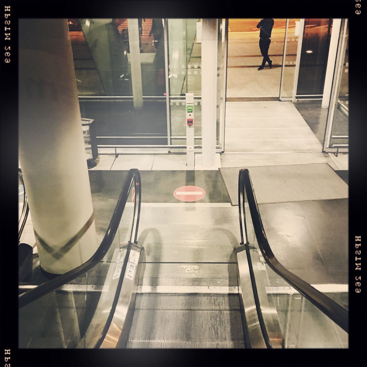 Architecture Auto Post Production Filter Built Structure Escalator Flooring High Angle View Indoors  Leisure Activity Lifestyles Low Section Men Person Railing Standing Tiled Floor Transfer Print Walking