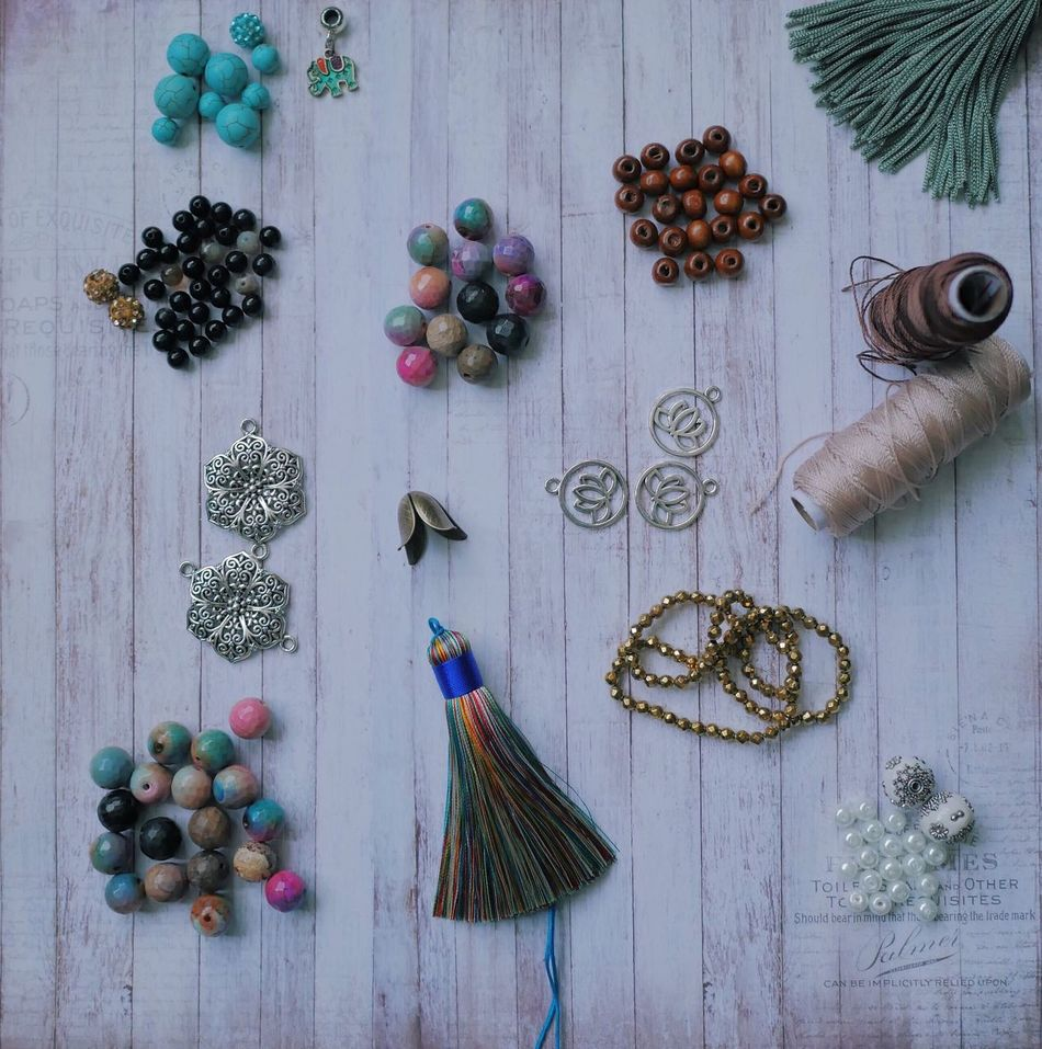 Variation Indoors  High Angle View No People Table Healthy Eating Fruit Day Food Freshness Tassels Silk Findings Jewelry Beads Gemstones Natural Handmade Craft Pendant Workspace Hobby Work