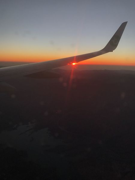 Flying Sunset Airplane Transportation Mode Of Transport Travel Nature Air Vehicle Tranquility Sky Scenics Sun Beauty In Nature Outdoors No People Airplane Wing Day
