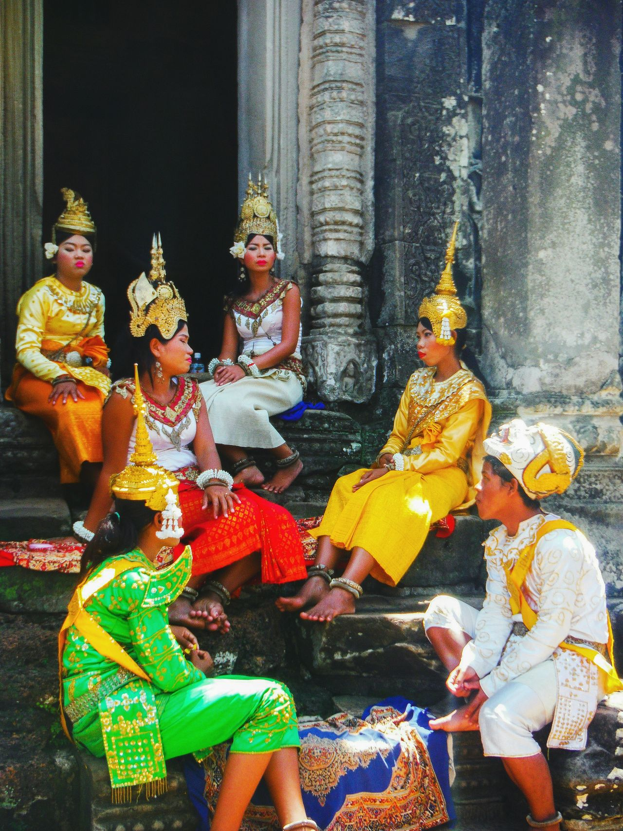 Angkor Thom Angkorthom Angkor Wat, Cambodia Angkorwat Angkor Wat Angkor Travel Asia Travel Cambodia Explore Cambodia Travel Destinations Cambodia Siem Reap Colorful Art And Craft Culture Tradition Dance Traditional Costume Traditional Clothing Traditional Dance Costume Break Time Khmer Culture Khmer Costume Khmer Tradition