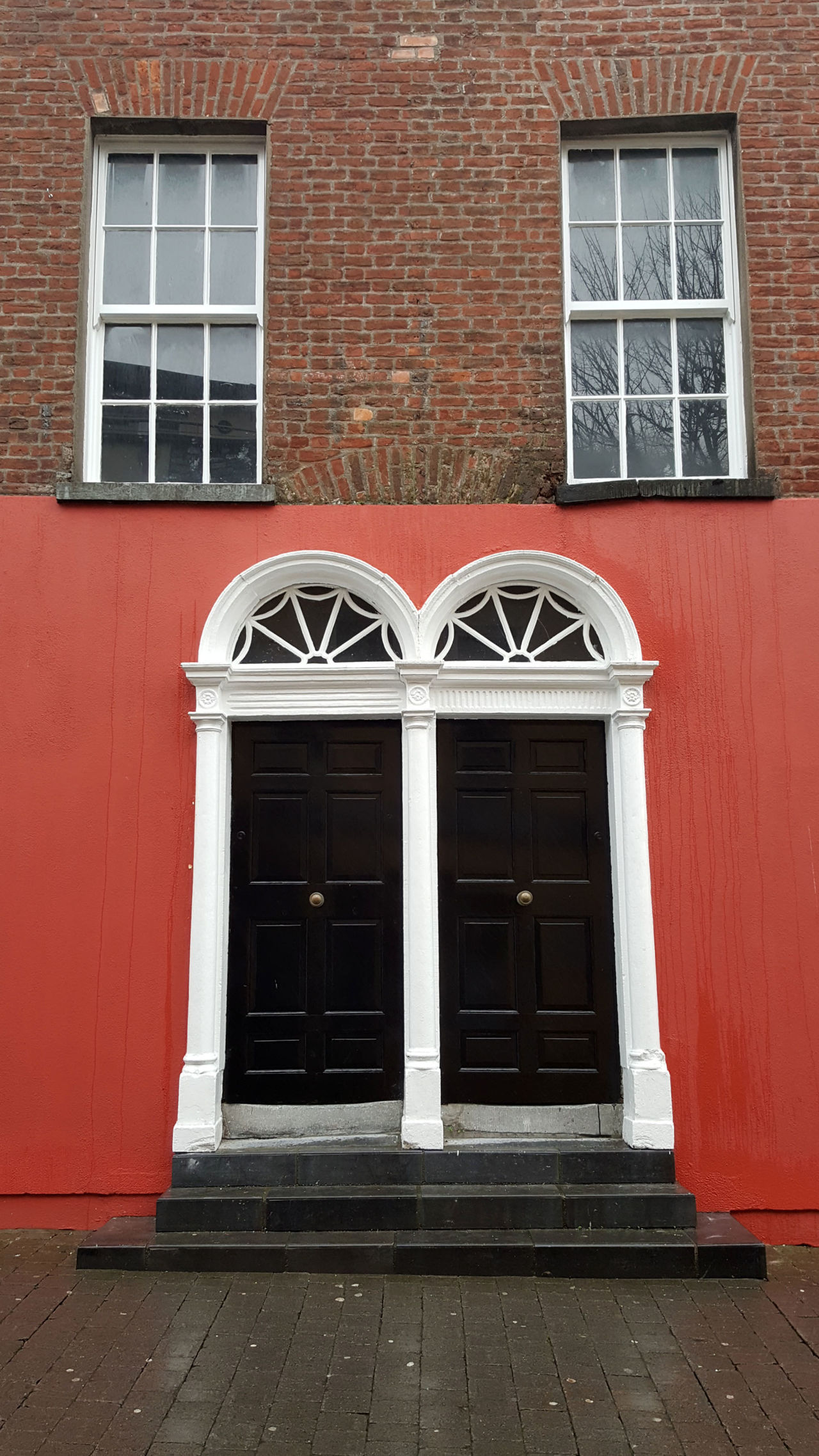 Conjoined twins Architecture Brick Wall Building Exterior Doors Doorstep Façade Fanlight Outdoors Red Twins Window