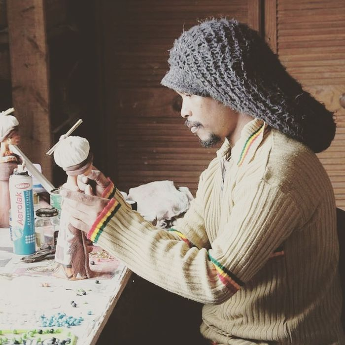 One Person Indoors  Rastafarian SouthAfrican Knysna Township Beauty Pottery Pottery Art Pottery Maker
