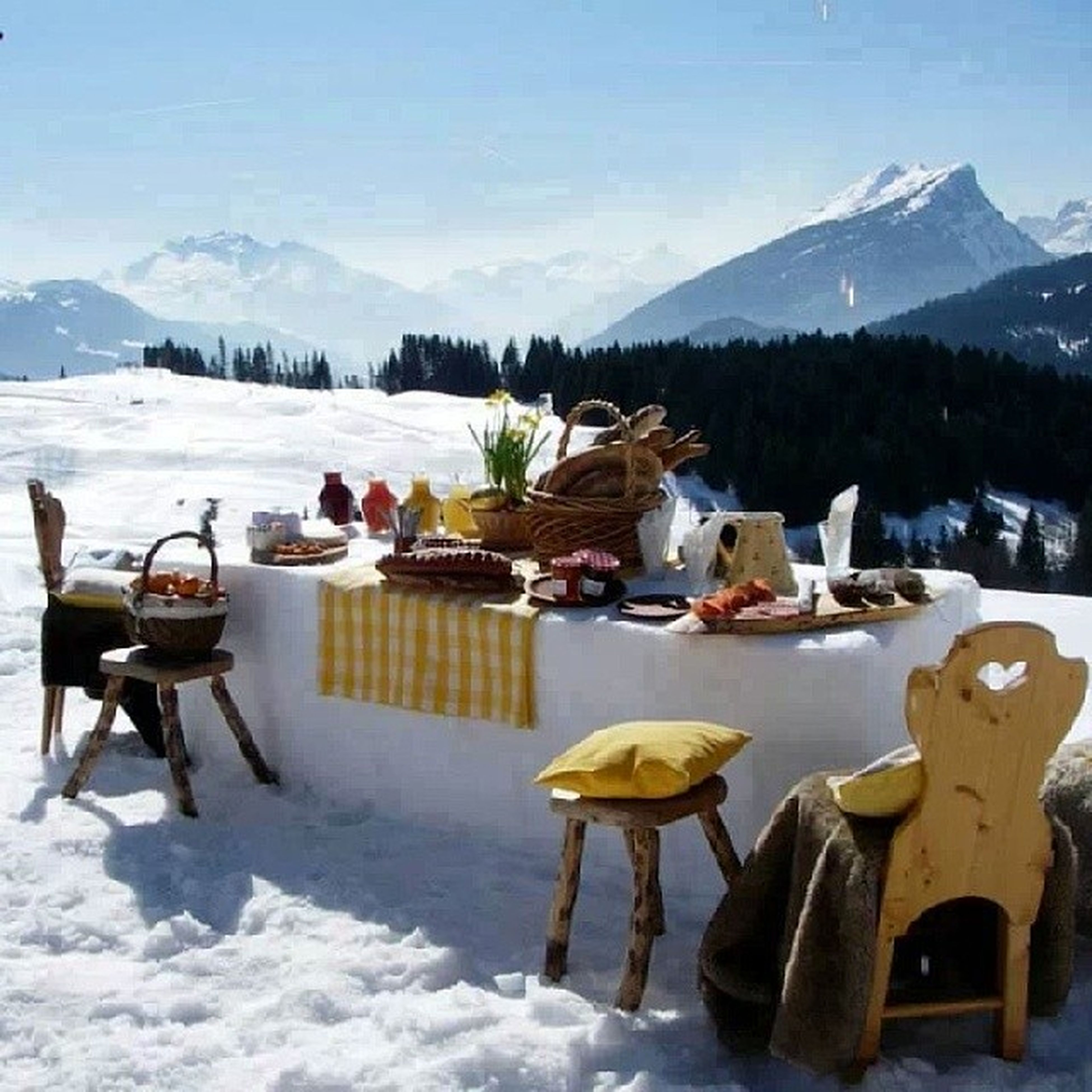 snow, winter, cold temperature, mountain, season, chair, sky, weather, tranquility, table, tranquil scene, nature, scenics, beauty in nature, water, mountain range, beach, sunlight, white color, frozen