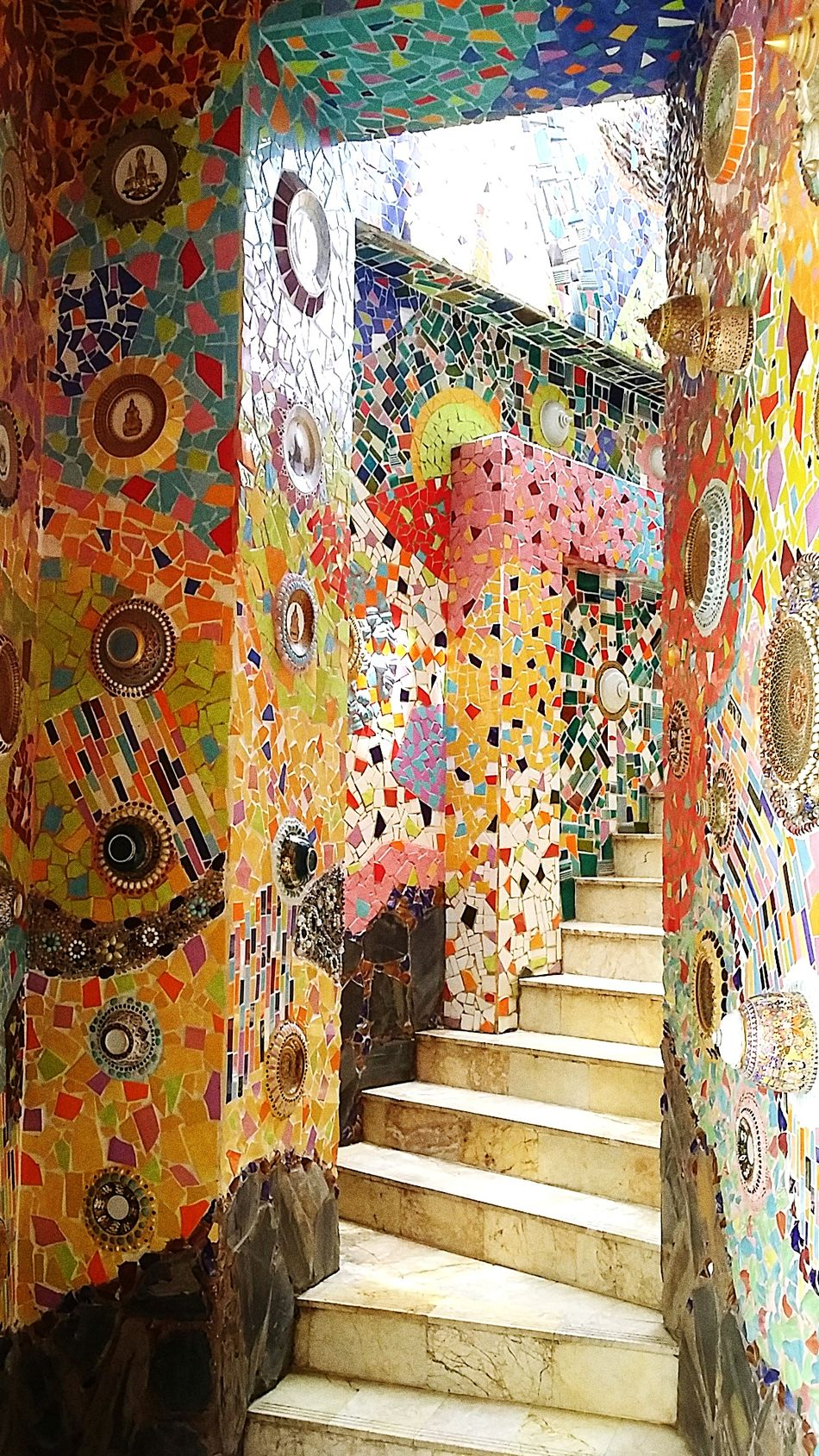 EyeEm Diversity Staircase Stair Stairway To Heaven Stairs To Nowhere Stair Mosaic Mosaic Art Mosaic Stairs Multi Colored Architecture Sunlight
