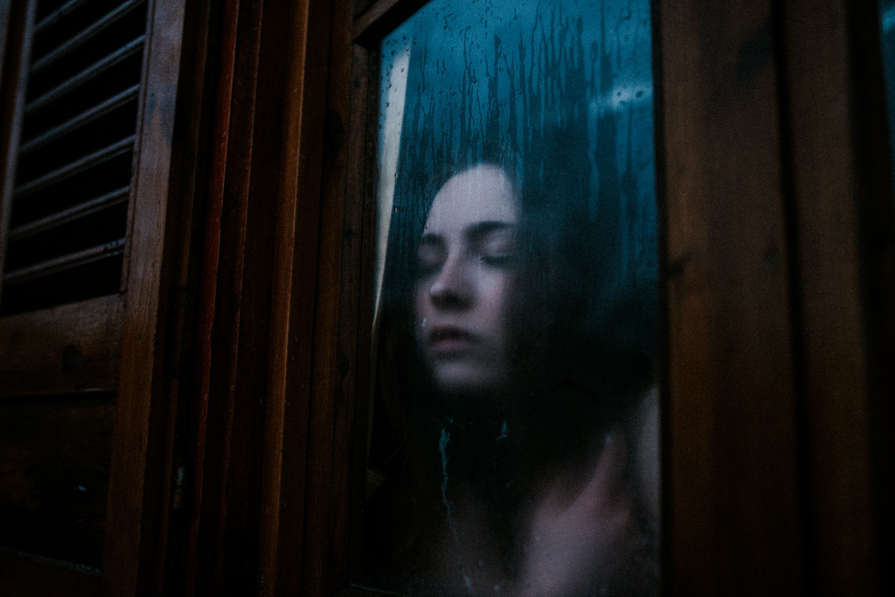 Close-up Closed Eyes Dark Dark Wood Darkest Hours Emotion Fog Fogged Horror Looking Through Window Moody Rain Scary The Portraitist - 2017 EyeEm Awards Window The Week On EyeEm