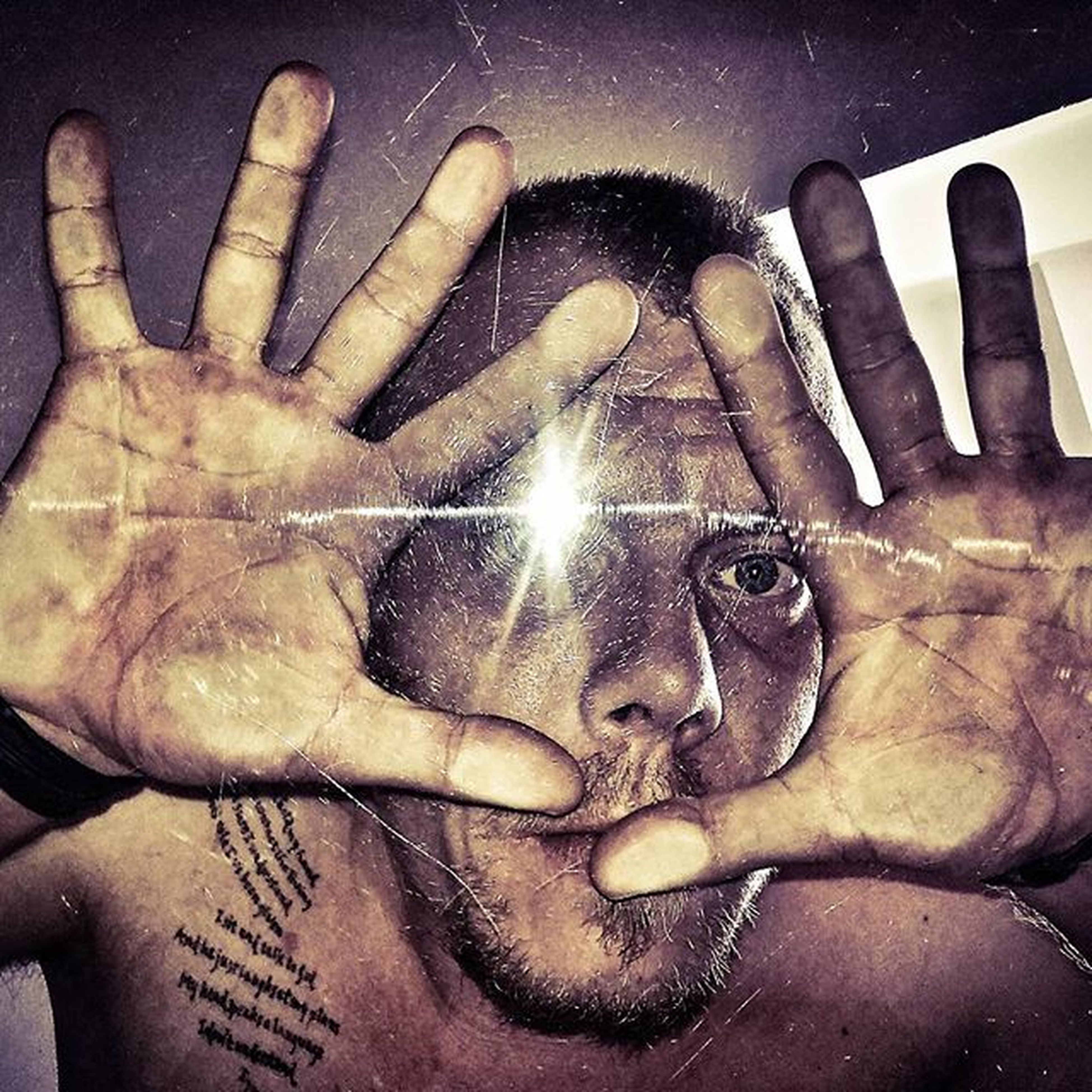 Silly Hands Finger Face Glasssurface Scratches Table Tablescratches Tattoo Love Eye Capture Moment Photo Flaslight