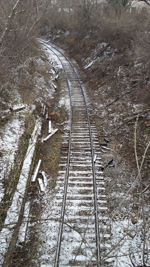 Metal No People Day Outdoors Backgrounds Nature Railroad Railroad Tracks Curves Snowcoveredtrees Beauty In Nature High Angle View