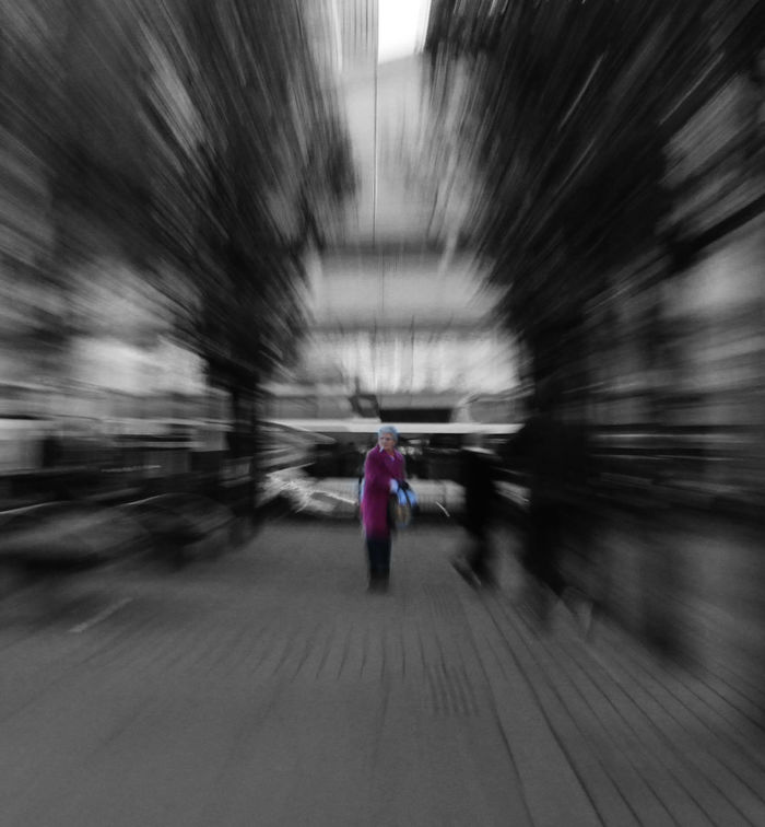I don't belong here. Blackandwhite Blurred Motion Colour Confusion Day Headspin Lifestyles Old Lady One Person Real People Speed EyeEm Best Shots Eye4photography  EyeEm Gallery