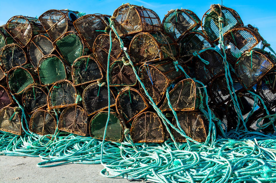 Backgrounds Close-up Day Design Detail Docklands Fishing Fishing Pot Fishing Tools Fishing Village Green Color Grounded Harbour Lined Lines No People Outdoors Pots Ropes Sky Stored Tools Tranquility TakeoverContrast