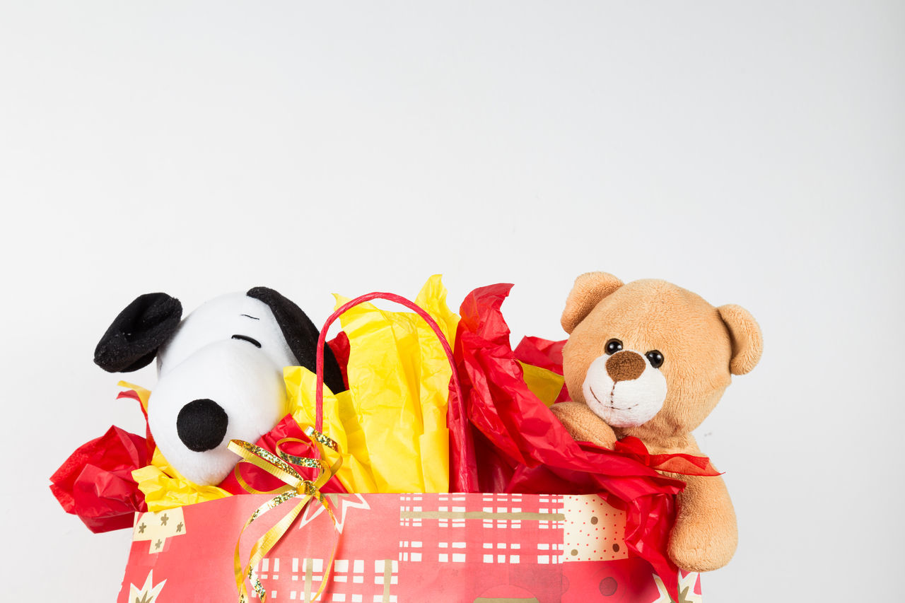 Close-up of Stuffed toys coming out of paper bag. Gift Shop Animal Representation Childhood Close-up Day Doll Gift Gifts ❤ Indoors  No People Scenery Studio Shot Stuffed Stuffed Toy Teddy Bear Toy White Background Wrapped Wrapped Gift