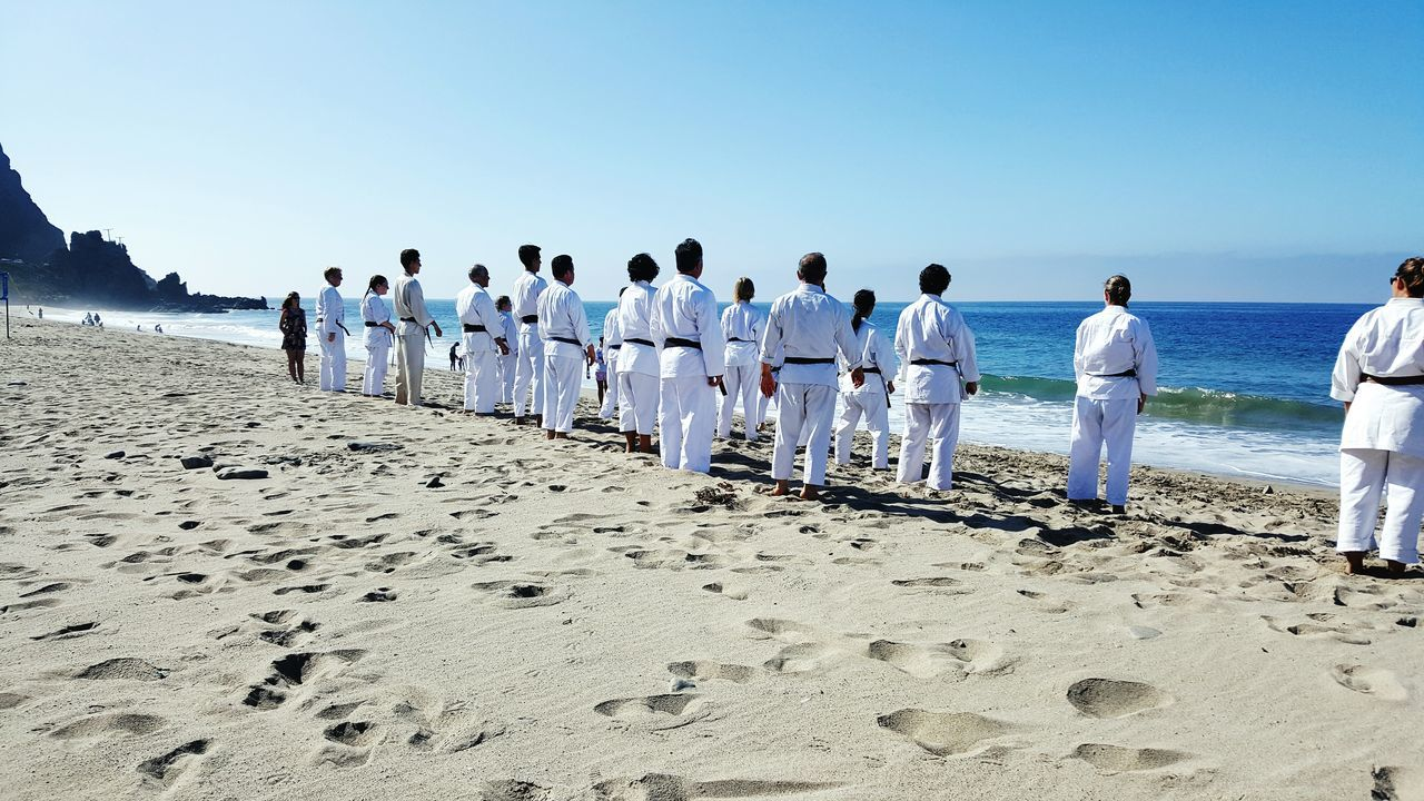 Beach training Beachday Shotokankarate Beachtraining So Cal Blue Sky Ocean View