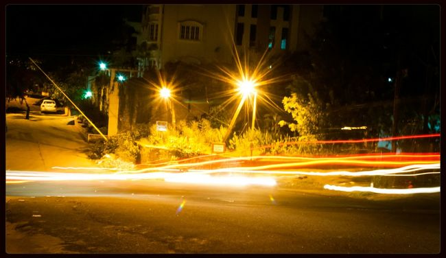 Shot at late night while cars passing by Light Trails Night With Nightphotography Night Lights Nightscape