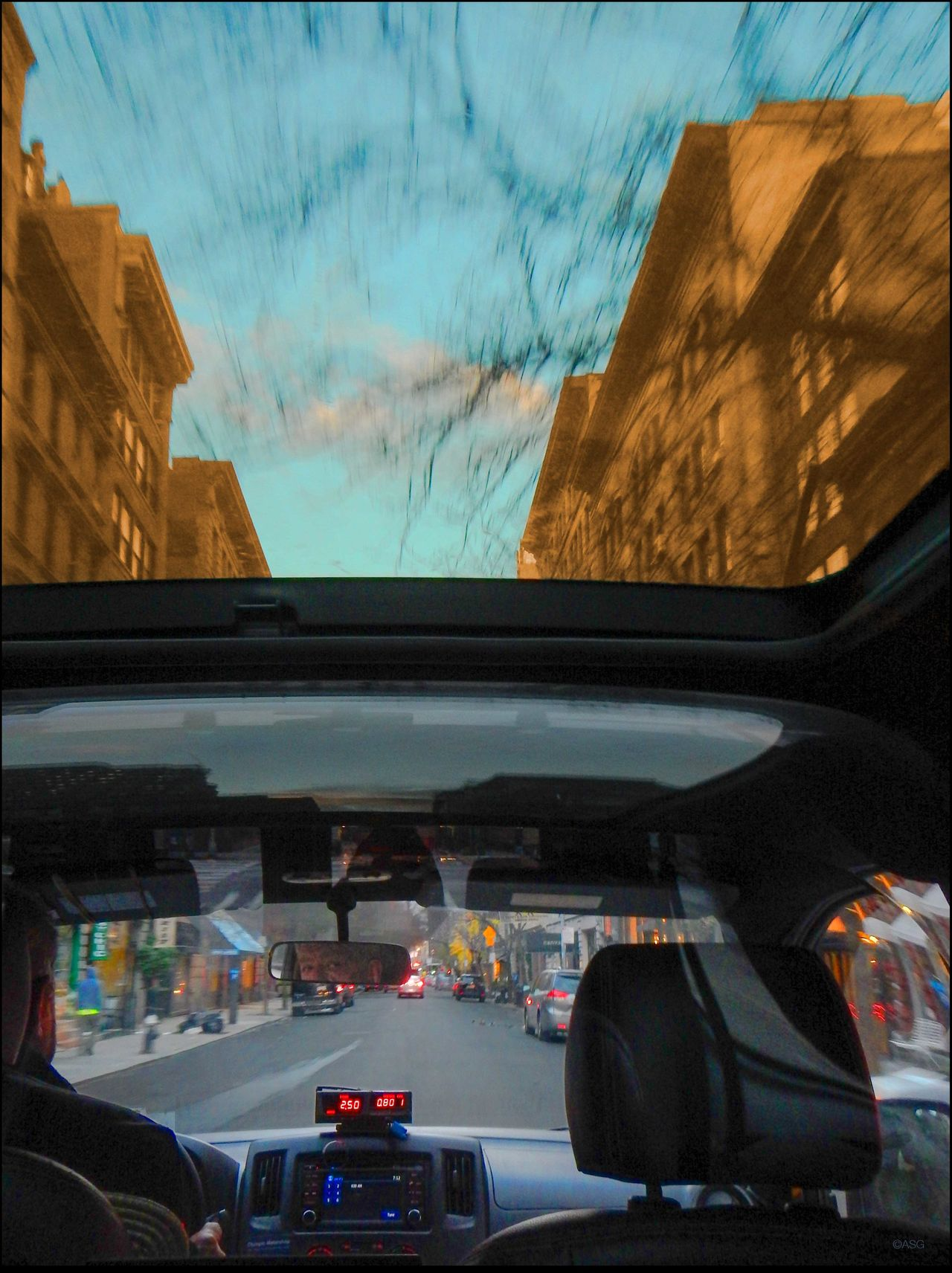 New Cab _ New Vistas #32 Buildings, Sky, Clouds, Street, While Driving Exterior New Cab _ New Vistas #32 - 12/4/15 On The Move Sun Roof Taxi Driver Vehicle Interior