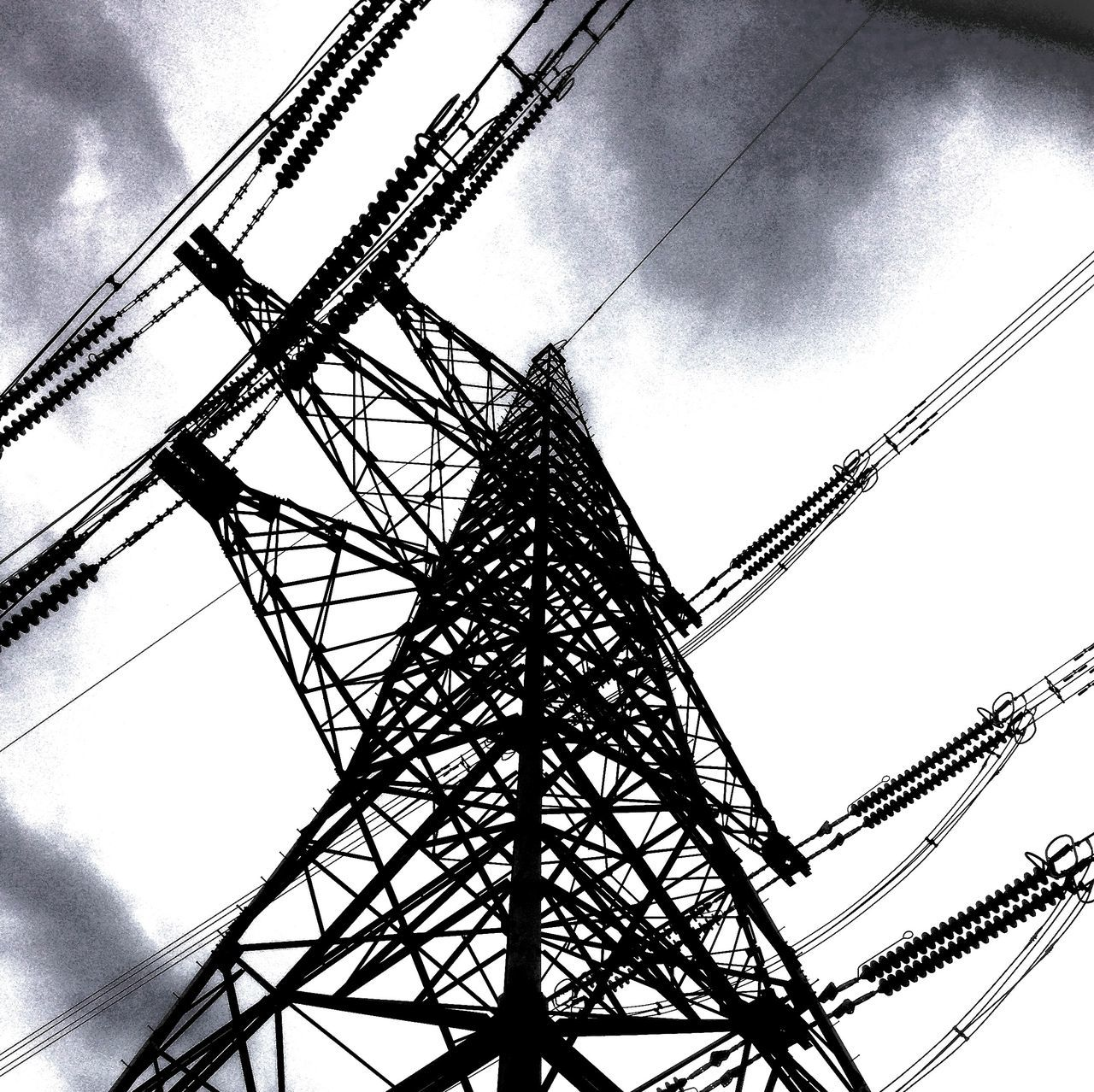 East Yorkshire IPhone Black And White Snapseed Wolds Photoshoptouch Pylon Electricity  Grid IPS2015Architecture Urban Geometry IPS2016Composition