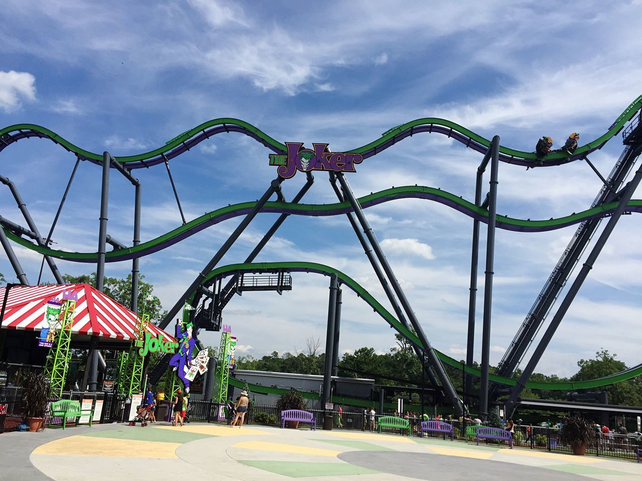 Ride in six flags amusement park, New York , USA Sky Cloud - Sky Day Outdoors City Tree No People Architecture rides fear fun screaming