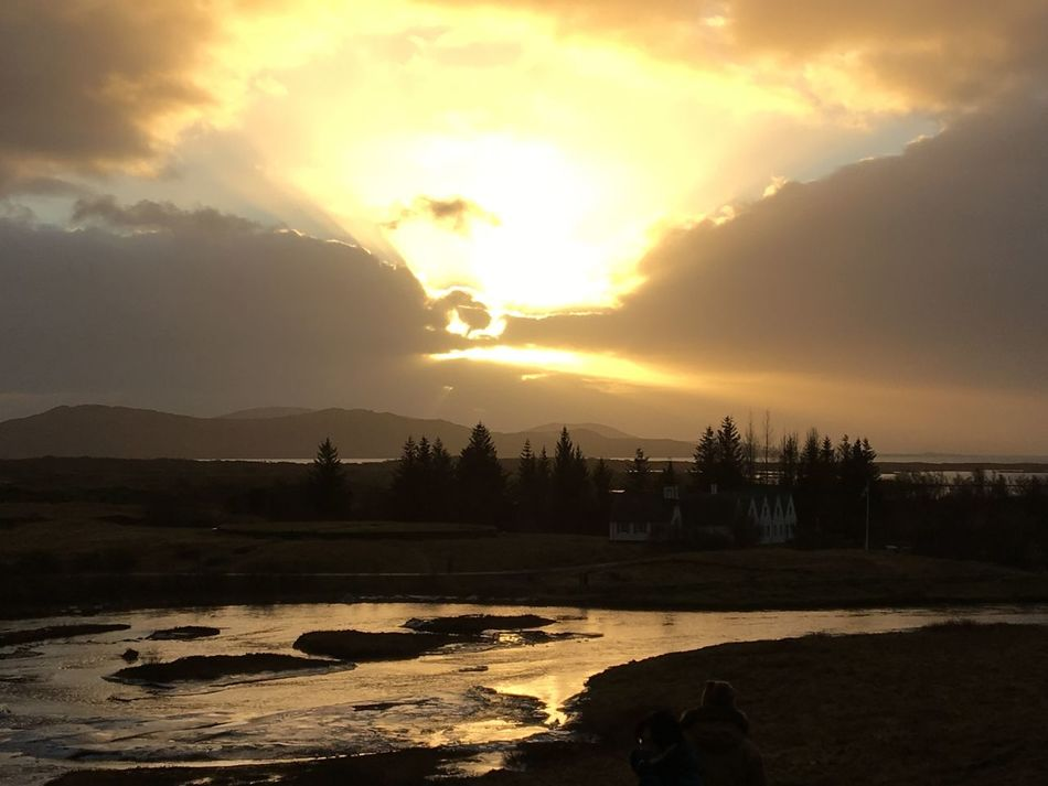 Beauty In Nature Cloud - Sky Continental Drift Iceland Iceland Memories Iceland Trip Landscape Mountain Nature No People Outdoors Reflection River Scenics Silhouette Sky Sun Sunset Thingvellir National Park Tranquil Scene Tranquility Trees Water Þingvellir National Park