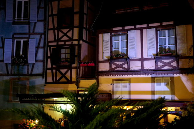 Alsace Architecture Blue And Yellow Building Exterior Built Structure City Life Colmar Colmar, Alsace, France Colorful Eye4photography  EyeEm Best Shots EyeEm Gallery EyeEmBestPics Fachwerkhaus Flower France From My Point Of View Houseplant Night Lights Night Photography Nightphotography Reflection_collection Reflections Window Window View