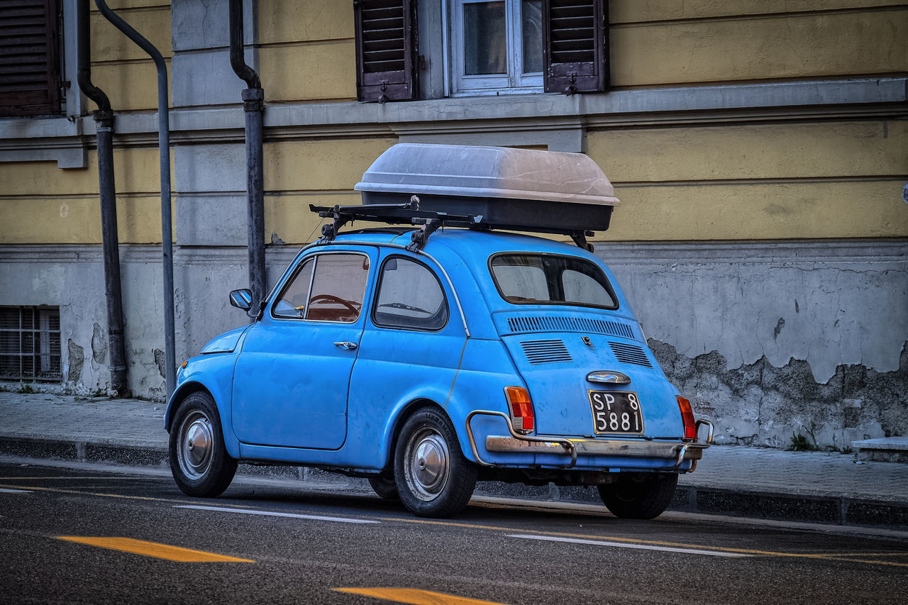 No People Blue Transportation City Outdoors Lovely Light Silhouette Street Light Beauty Shot Gildo Masini Hard Beauty Photo Fiat 500 Old Car Fuji X-T1