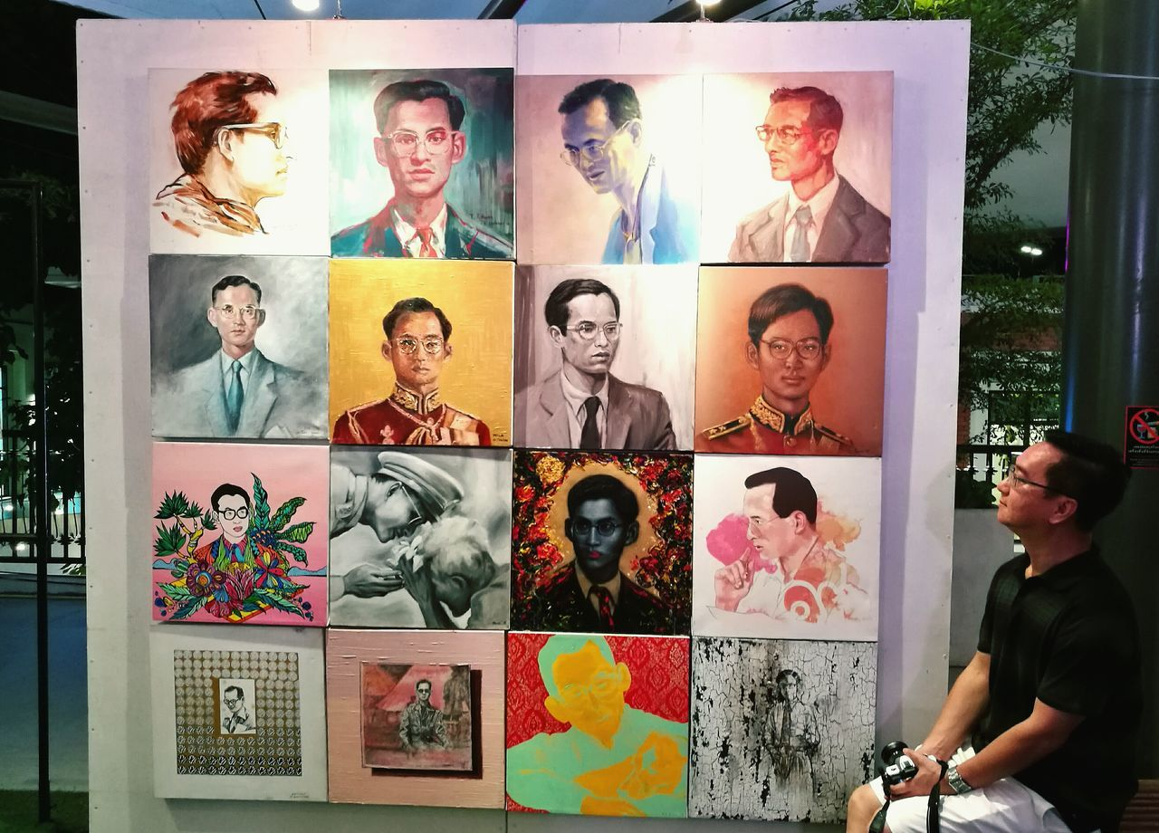 Painted Image Multiple Image Men King Bhumibol Adulyadej Beloved King Beloved King Of Thailand King Photograph Watching