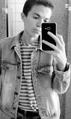 Black & White Selfie Ugly Boy Denim Jacket