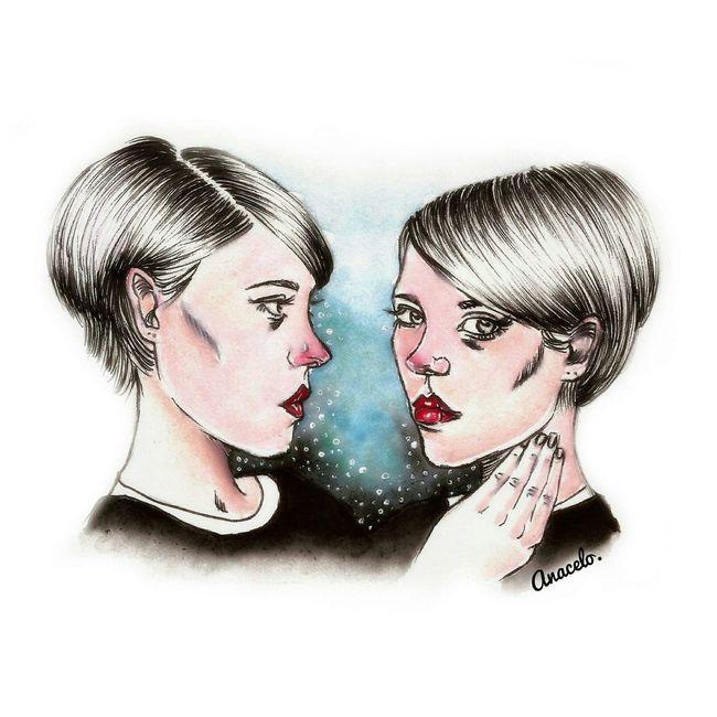 Illustration in watercolor Illustration Drawing ByMe Sketch Sketchbook Watercolor Hi! Drawing Faces Of EyeEm Enjoying Life TWINS ♥