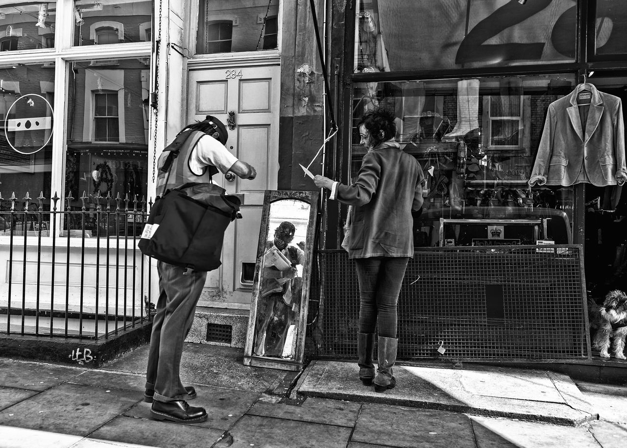 Black And White Photography Blackandwhite City Life Mirror Picture Mirror Reflection People Photography Poeple And Places Portobello Road Postman Real People Streetphotography