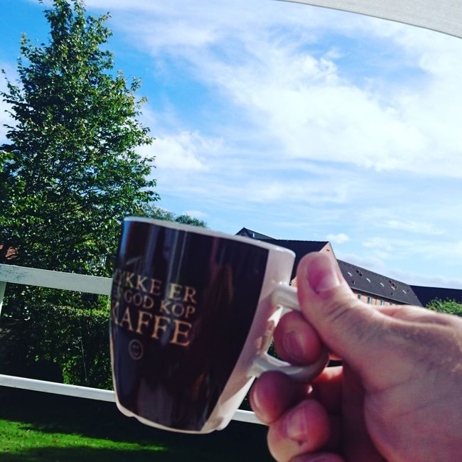Coffee in the sun .. Coffee Time Coffee In The Sun Sky Holding Human Body Part Drink Person