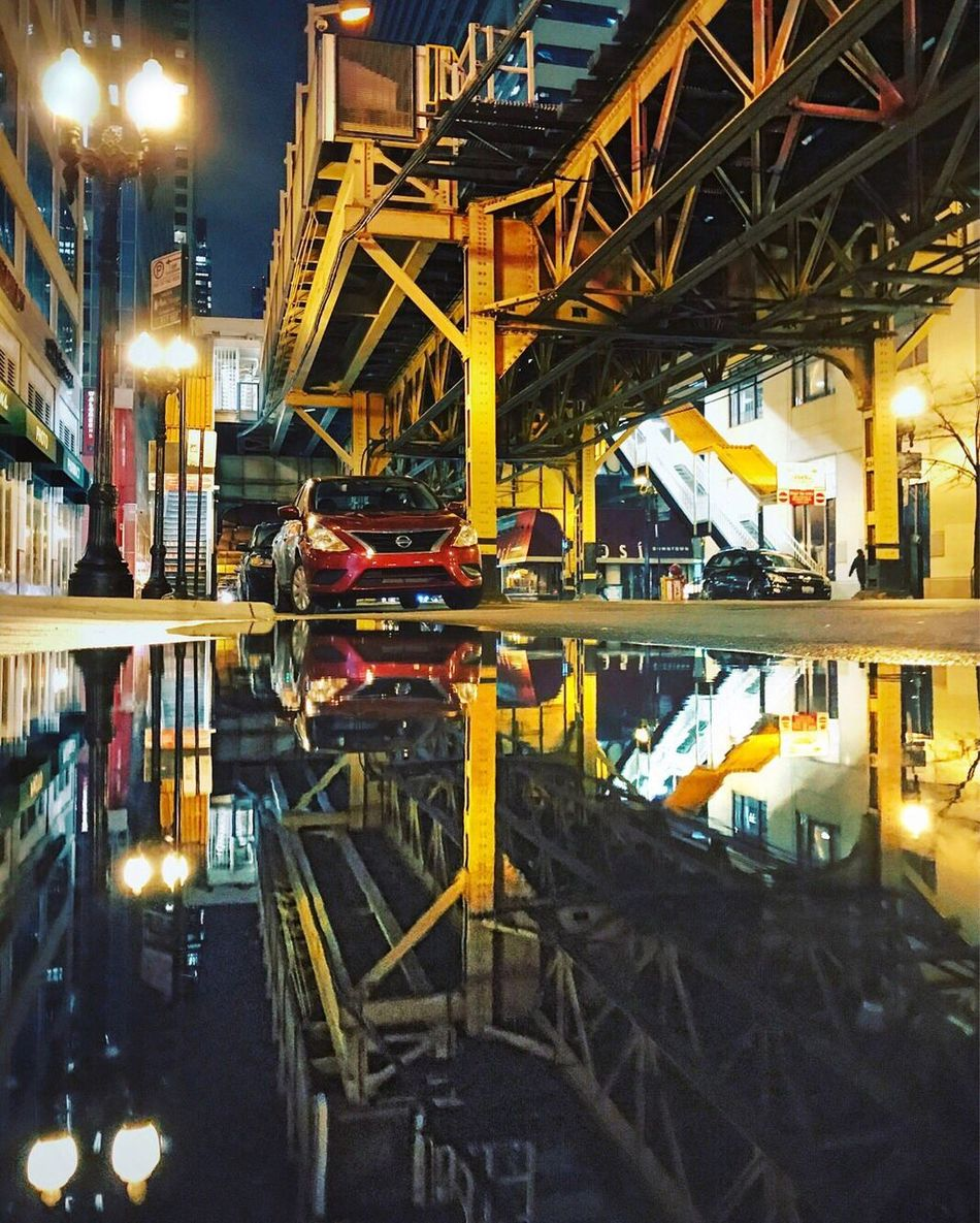 Chicago Night Loop Downtown District Travel Destinations City Life City Street Photography Reflection Rainy Days