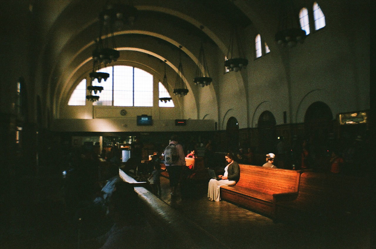 35mm Film Agfa Vista200 Analogue Photography California Copy Space Film Photography Filmisnotdead Indoors  Light And Shadow Lomography Real People San Diego Sitting The Street Photographer - 2017 EyeEm Awards Train Station Travel Woman On A Bench