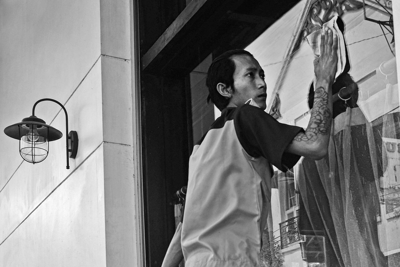 Man At Work Cleaning Wiping Window People Black And White Black & White Street Photography