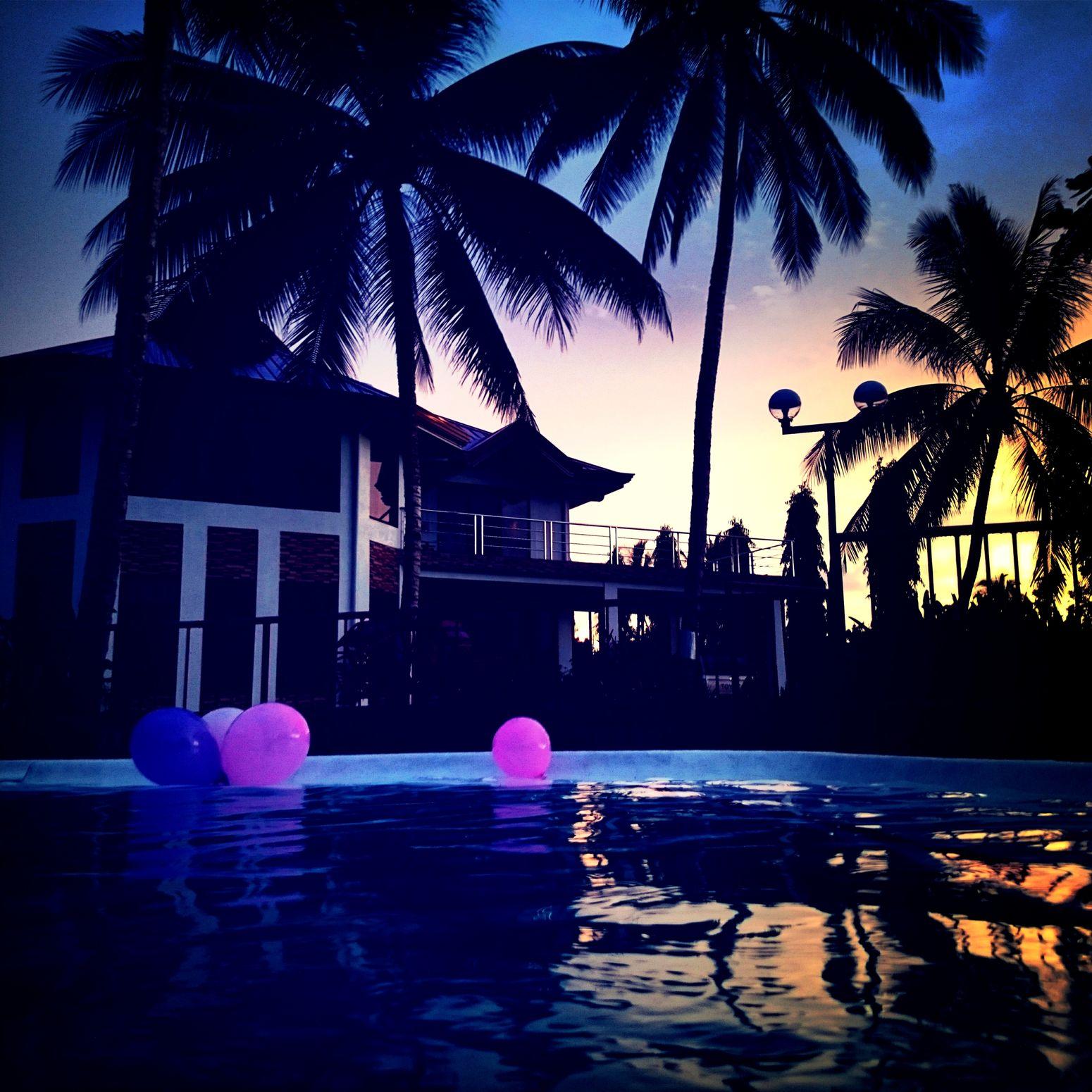 Color Explosion Gazebopool Swimming Pool Sunset