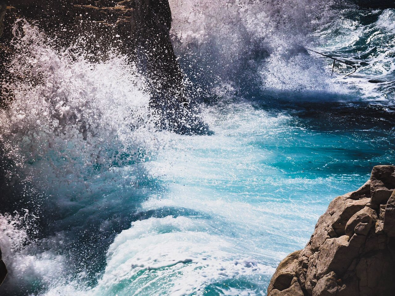 rock - object, water, nature, beauty in nature, motion, outdoors, day, sea, blue, no people, wave, force